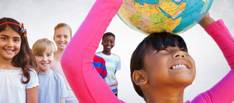 girl holding globe over her head while children stand smiling behind her