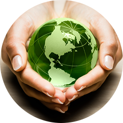 hands holding green globe