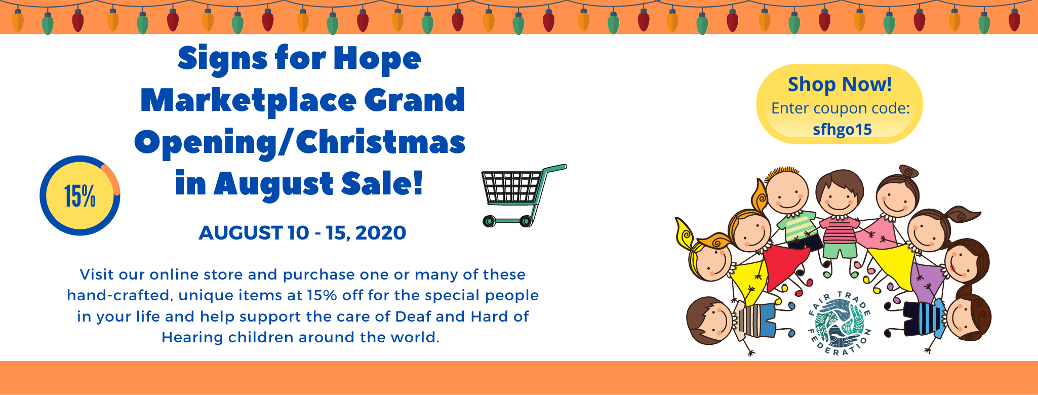 Signs for Hope Marketplace Grand Opening. August 10-15, 2020.